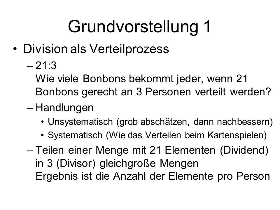 Grundvorstellung 1 Division als Verteilprozess –21:3 Wie viele Bonbons bekommt jeder, wenn 21 Bonbons gerecht an 3 Personen verteilt werden.