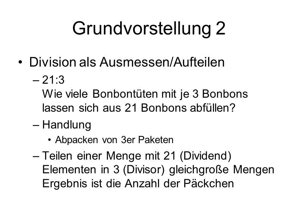 Grundvorstellung 2 Division als Ausmessen/Aufteilen –21:3 Wie viele Bonbontüten mit je 3 Bonbons lassen sich aus 21 Bonbons abfüllen.