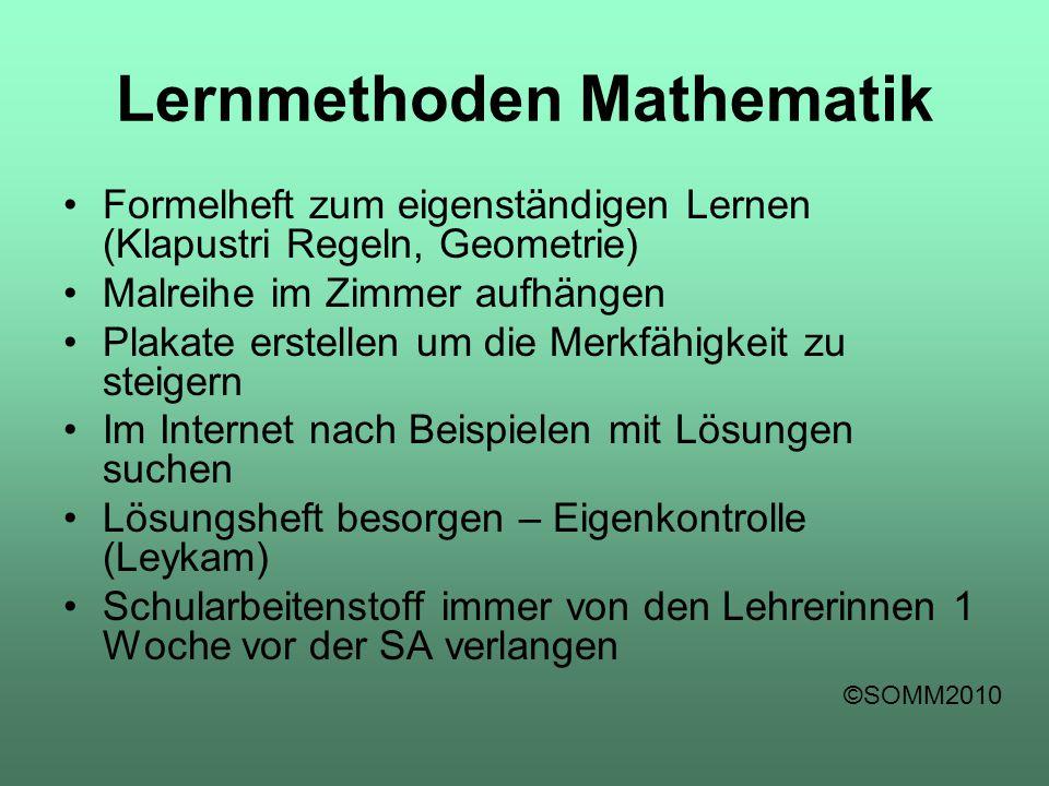 Lernmethoden Mathematik Formelheft zum eigenständigen Lernen (Klapustri Regeln, Geometrie) Malreihe im Zimmer aufhängen Plakate erstellen um die Merkf