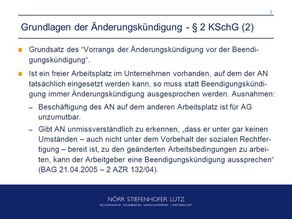 3 Grundlagen der Änderungskündigung - § 2 KSchG (2) Grundsatz des Vorrangs der Änderungskündigung vor der Beendi- gungskündigung .