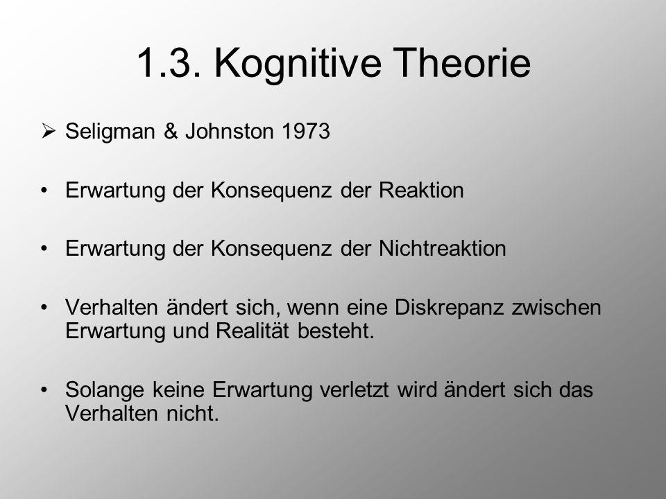 1.3. Kognitive Theorie  Seligman & Johnston 1973 Erwartung der Konsequenz der Reaktion Erwartung der Konsequenz der Nichtreaktion Verhalten ändert si