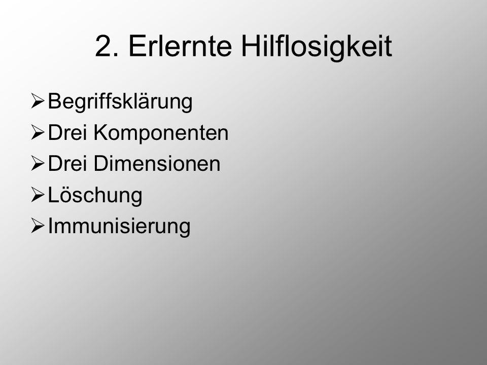 2. Erlernte Hilflosigkeit  Begriffsklärung  Drei Komponenten  Drei Dimensionen  Löschung  Immunisierung