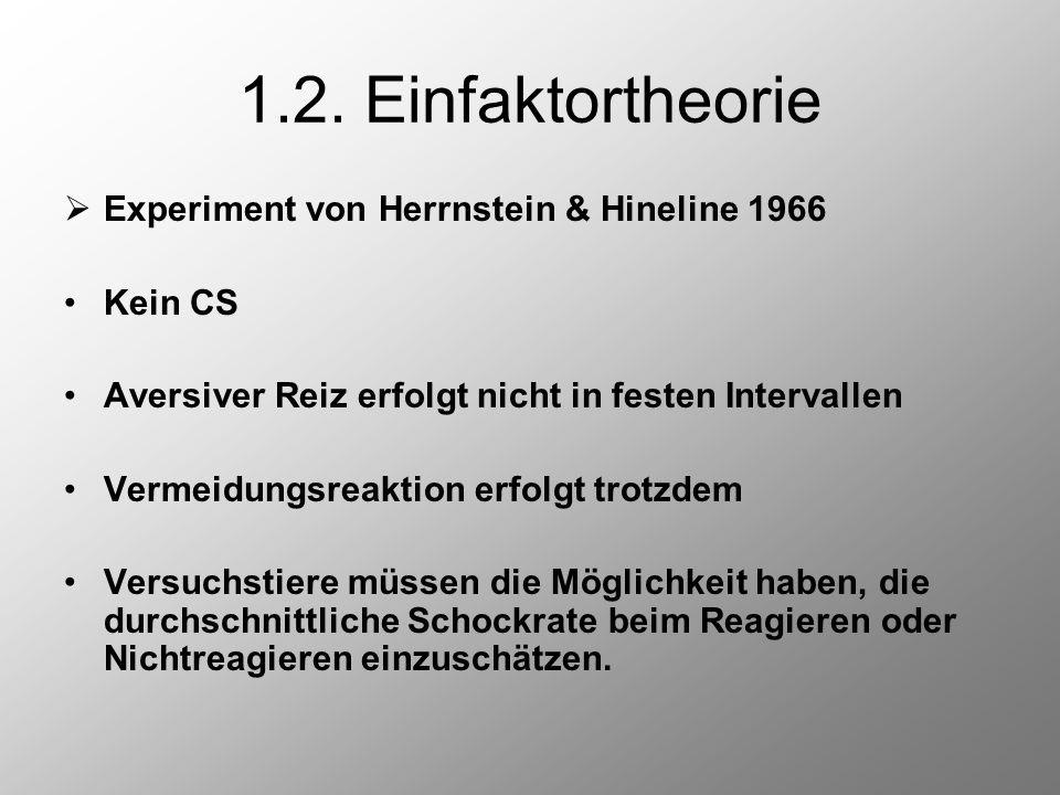 1.2. Einfaktortheorie  Experiment von Herrnstein & Hineline 1966 Kein CS Aversiver Reiz erfolgt nicht in festen Intervallen Vermeidungsreaktion erfol