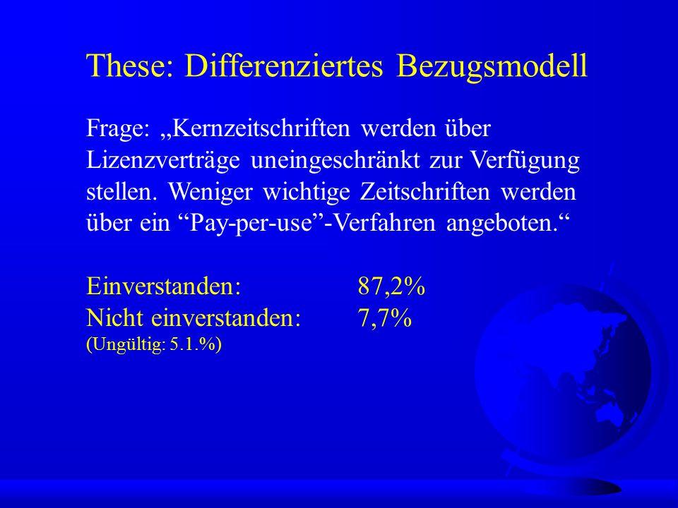 """These: Differenziertes Bezugsmodell Einverstanden: 87,2% Nicht einverstanden: 7,7% (Ungültig: 5.1.%) Frage: """"Kernzeitschriften werden über Lizenzverträge uneingeschränkt zur Verfügung stellen."""