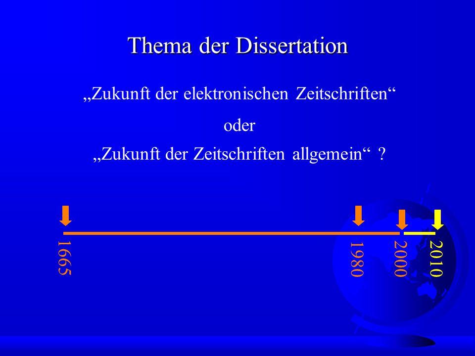 """Thema der Dissertation """"Zukunft der elektronischen Zeitschriften 1665 1980 oder """"Zukunft der Zeitschriften allgemein ."""