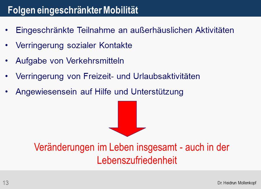 13 Folgen eingeschränkter Mobilität Eingeschränkte Teilnahme an außerhäuslichen Aktivitäten Verringerung sozialer Kontakte Aufgabe von Verkehrsmitteln