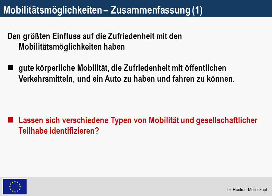 17 Mobilitätsmöglichkeiten – Zusammenfassung (1) Den größten Einfluss auf die Zufriedenheit mit den Mobilitätsmöglichkeiten haben gute körperliche Mob