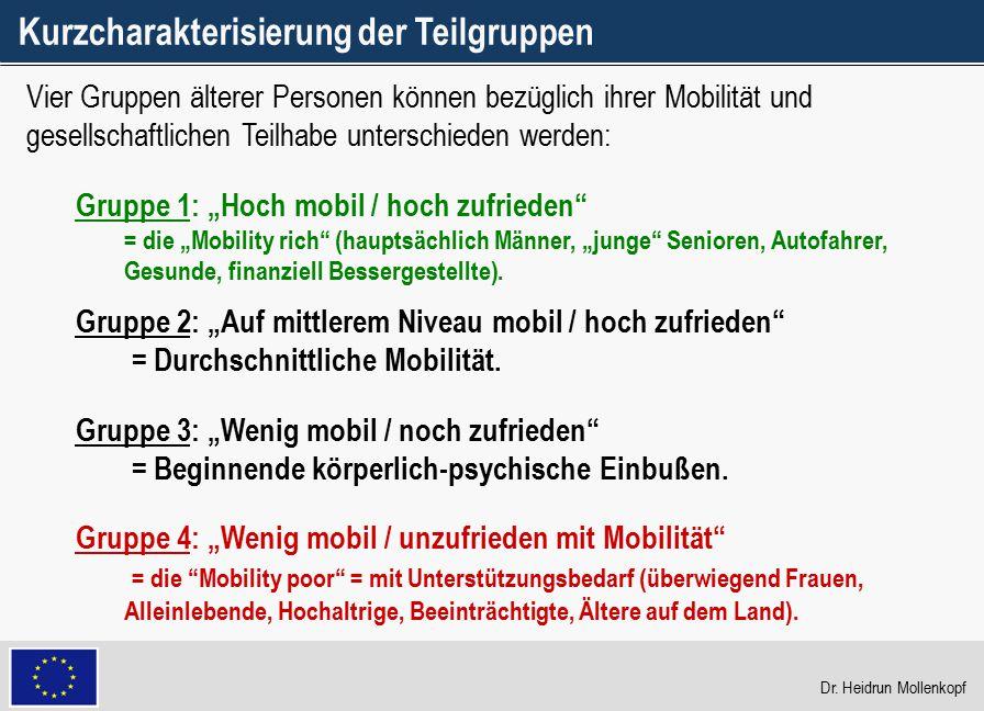 """19 Gruppe 1: """"Hoch mobil / hoch zufrieden"""" = die """"Mobility rich"""" (hauptsächlich Männer, """"junge"""" Senioren, Autofahrer, Gesunde, finanziell Bessergestel"""