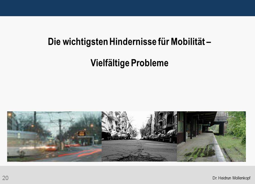 20 Die wichtigsten Hindernisse für Mobilität – Vielfältige Probleme Dr. Heidrun Mollenkopf