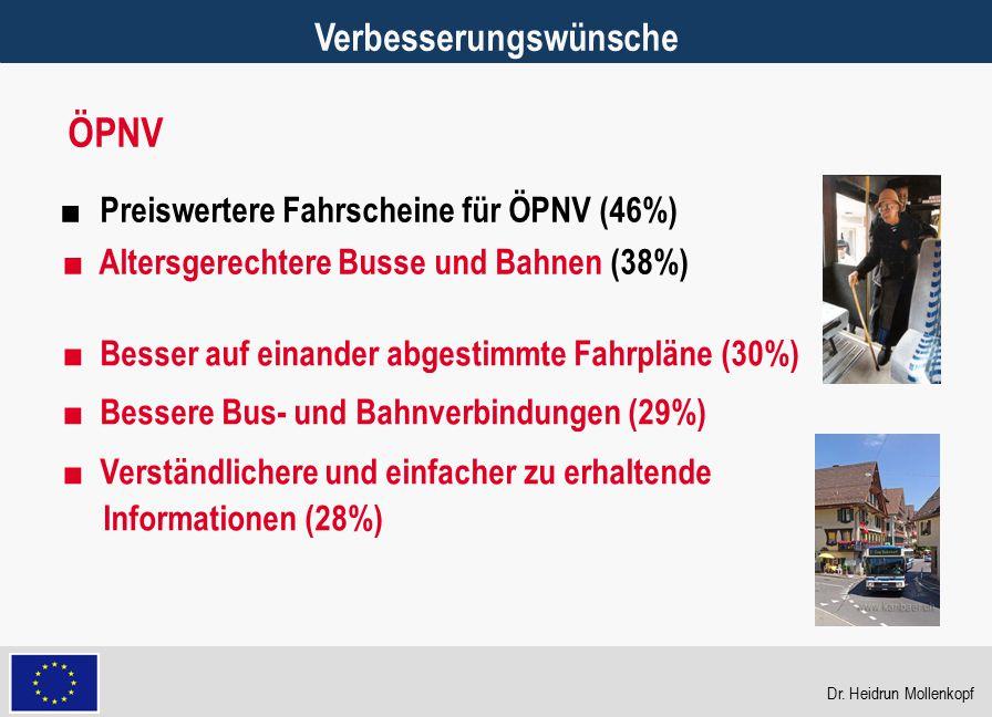 28 Verbesserungswünsche ■ Preiswertere Fahrscheine für ÖPNV (46%) ■ Altersgerechtere Busse und Bahnen (38%) ÖPNV ■ Besser auf einander abgestimmte Fah