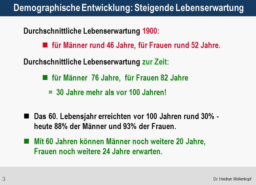 3 Durchschnittliche Lebenserwartung 1900: für Männer rund 46 Jahre, für Frauen rund 52 Jahre. Durchschnittliche Lebenserwartung zur Zeit: für Männer 7