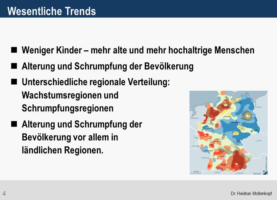 4 Wesentliche Trends Weniger Kinder – mehr alte und mehr hochaltrige Menschen Alterung und Schrumpfung der Bevölkerung Unterschiedliche regionale Vert