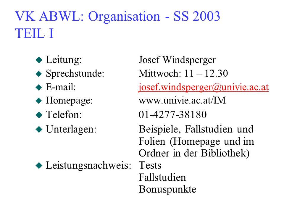 VK ABWL: Organisation - SS 2003 TEIL I u Leitung: Josef Windsperger u Sprechstunde:Mittwoch: 11 – 12.30 u E-mail:josef.windsperger@univie.ac.atjosef.windsperger@univie.ac.at u Homepage:www.univie.ac.at/IM u Telefon:01-4277-38180 u Unterlagen:Beispiele, Fallstudien und Folien (Homepage und im Ordner in der Bibliothek) u Leistungsnachweis:Tests Fallstudien Bonuspunkte