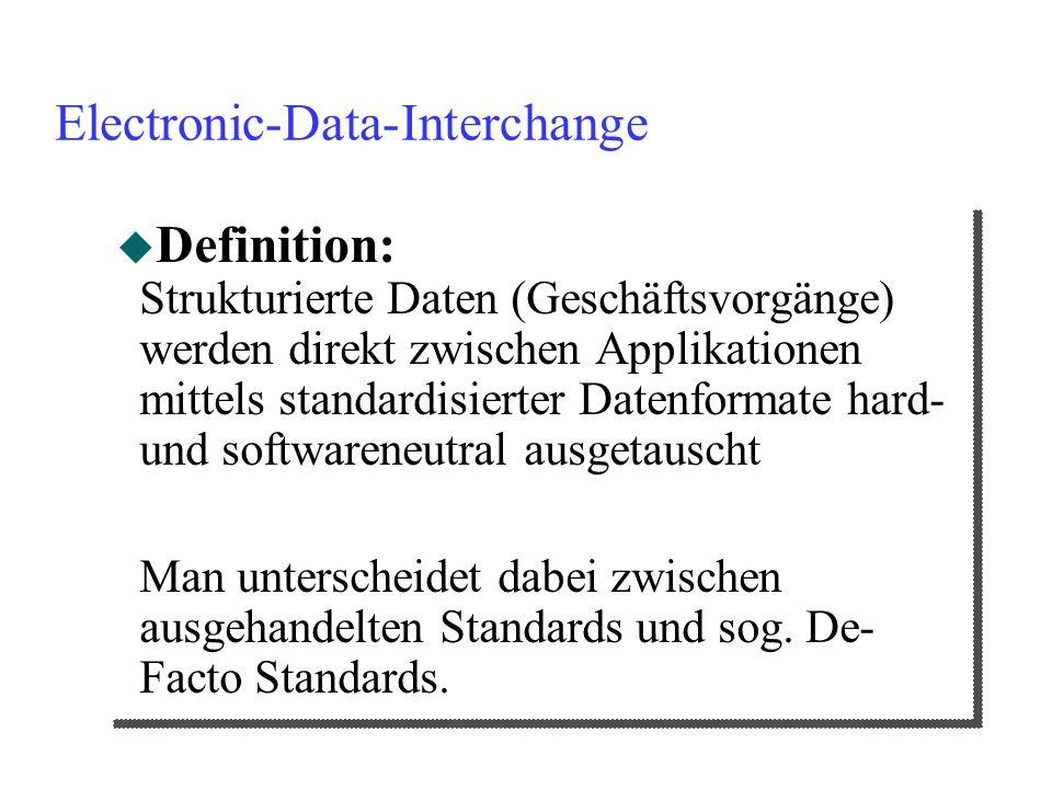 Electronic-Data-Interchange u Definition: Strukturierte Daten (Geschäftsvorgänge) werden direkt zwischen Applikationen mittels standardisierter Datenf