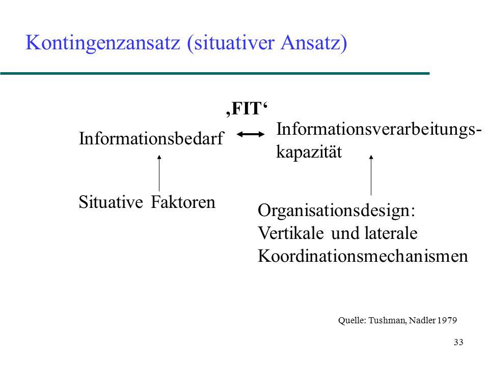 33 Kontingenzansatz (situativer Ansatz) Informationsbedarf Informationsverarbeitungs- kapazität Situative Faktoren Organisationsdesign: Vertikale und