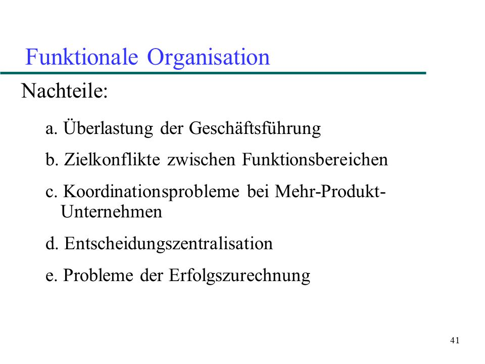 42 Funktionale Organisation und laterale Koordinationsmechanismen Direkter Kontakt Task Force Team Produktmanager
