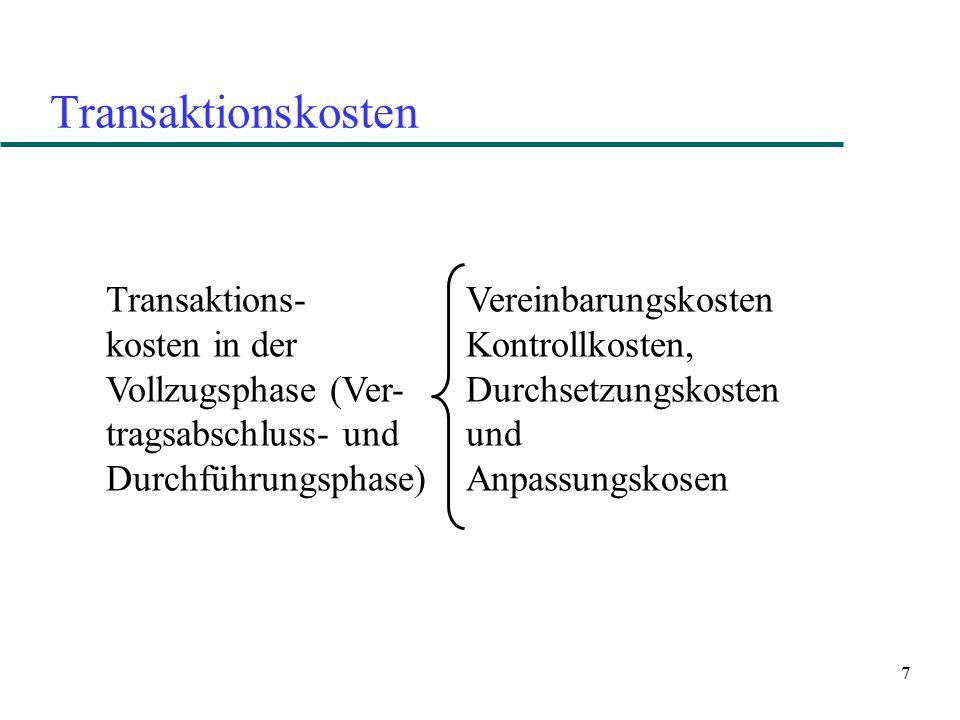 7 Transaktionskosten Vereinbarungskosten Kontrollkosten, Durchsetzungskosten und Anpassungskosen Transaktions- kosten in der Vollzugsphase (Ver- trags