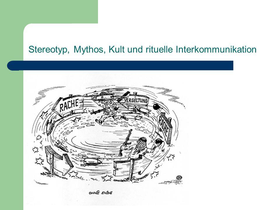 Stereotyp, Mythos, Kult und rituelle Interkommunikation Metapher und Vergleich: Metapher als verkürzter Vergleich (Quintilian) Metapher Vergleich Direkte Übertragung der Bedeutung keine Bedt.-Übertragung unterschiedliche Tiefenstrukturen 2 Oberflächenausdrücke Einheit (monistisch) Dualität (dualistisch) verdichtet-synthetisch erklärend-analytisch ambivalent (ambig) univok (unisemisch) + semantisch anomal - semantisch anomal