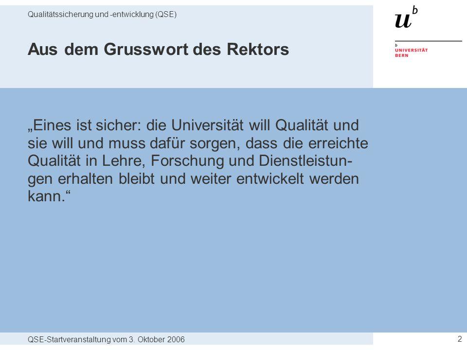 """QSE-Startveranstaltung vom 3. Oktober 2006 Qualitätssicherung und -entwicklung (QSE) 2 Aus dem Grusswort des Rektors """"Eines ist sicher: die Universitä"""