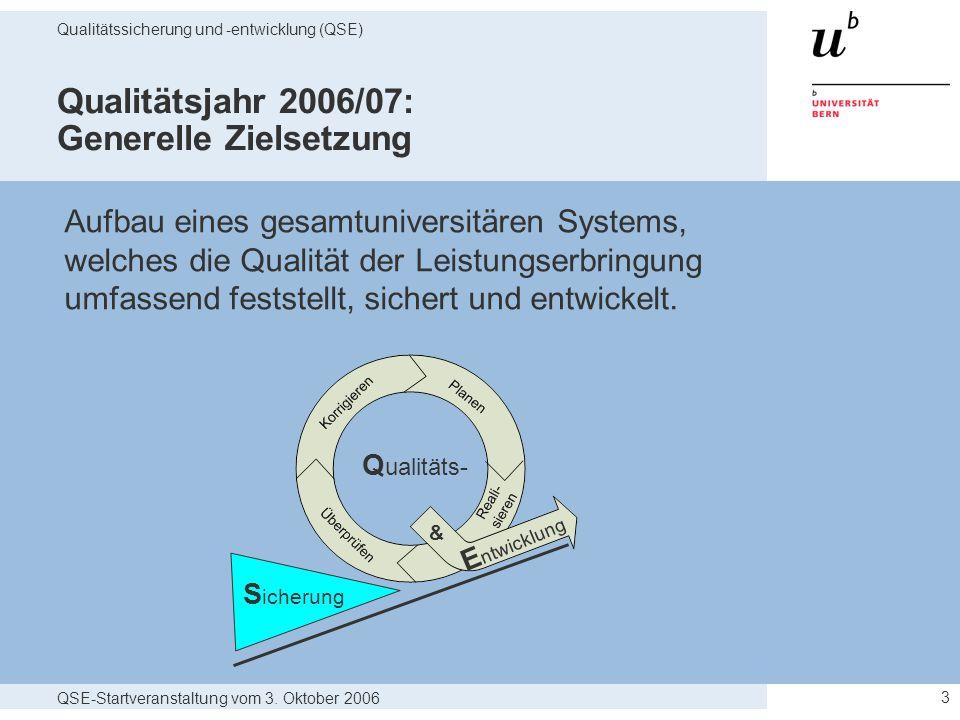 QSE-Startveranstaltung vom 3. Oktober 2006 Qualitätssicherung und -entwicklung (QSE) 3 Qualitätsjahr 2006/07: Generelle Zielsetzung Aufbau eines gesam