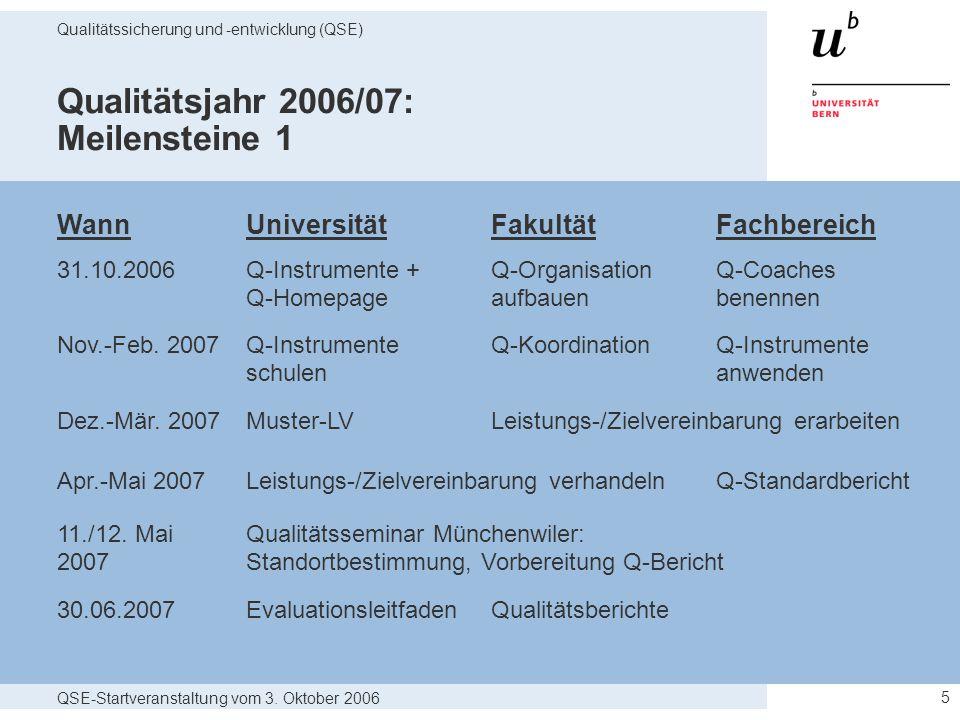 QSE-Startveranstaltung vom 3. Oktober 2006 Qualitätssicherung und -entwicklung (QSE) 5 Qualitätsjahr 2006/07: Meilensteine 1 WannUniversität Fakultät