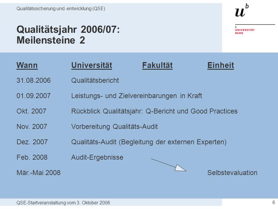 QSE-Startveranstaltung vom 3. Oktober 2006 Qualitätssicherung und -entwicklung (QSE) 6 Qualitätsjahr 2006/07: Meilensteine 2 WannUniversität Fakultät