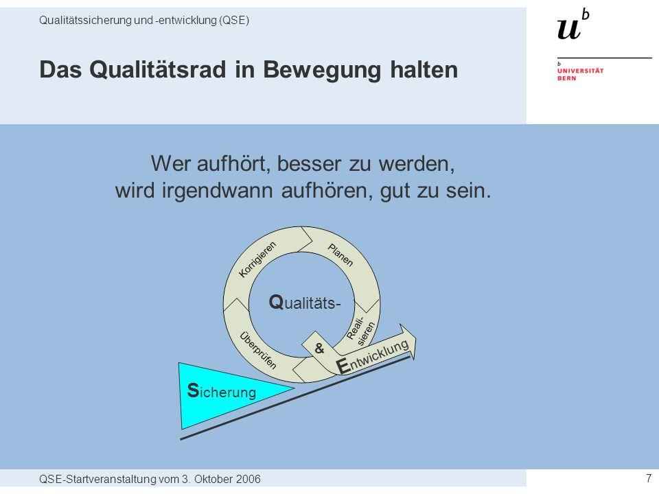 QSE-Startveranstaltung vom 3. Oktober 2006 Qualitätssicherung und -entwicklung (QSE) 7 Das Qualitätsrad in Bewegung halten Q ualitäts- S icherung E nt