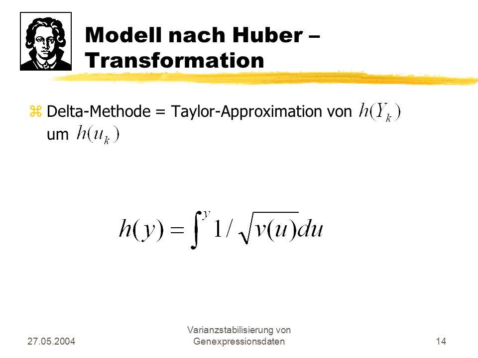 27.05.2004 Varianzstabilisierung von Genexpressionsdaten14 Modell nach Huber – Transformation zDelta-Methode = Taylor-Approximation von um