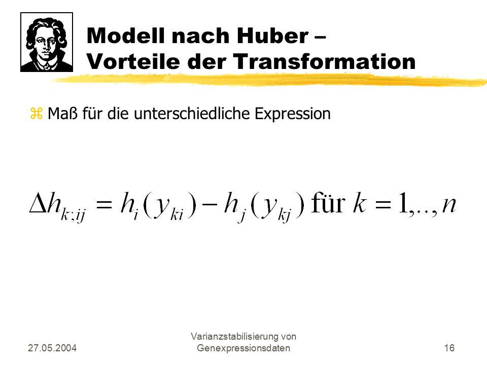 27.05.2004 Varianzstabilisierung von Genexpressionsdaten16 Modell nach Huber – Vorteile der Transformation zMaß für die unterschiedliche Expression