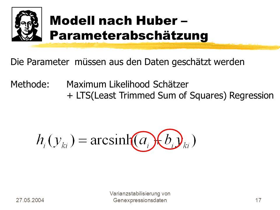 27.05.2004 Varianzstabilisierung von Genexpressionsdaten17 Modell nach Huber – Parameterabschätzung Die Parameter müssen aus den Daten geschätzt werde