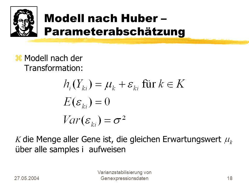 27.05.2004 Varianzstabilisierung von Genexpressionsdaten18 Modell nach Huber – Parameterabschätzung zModell nach der Transformation: K die Menge aller