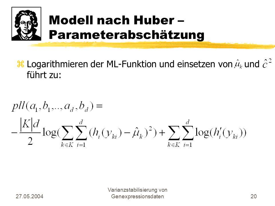 27.05.2004 Varianzstabilisierung von Genexpressionsdaten20 Modell nach Huber – Parameterabschätzung zLogarithmieren der ML-Funktion und einsetzen von