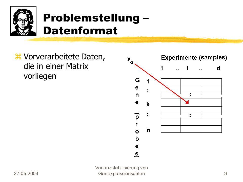 27.05.2004 Varianzstabilisierung von Genexpressionsdaten3 Problemstellung – Datenformat zVorverarbeitete Daten, die in einer Matrix vorliegen