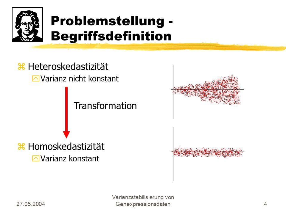 27.05.2004 Varianzstabilisierung von Genexpressionsdaten4 Problemstellung - Begriffsdefinition zHeteroskedastizität yVarianz nicht konstant zHomoskeda