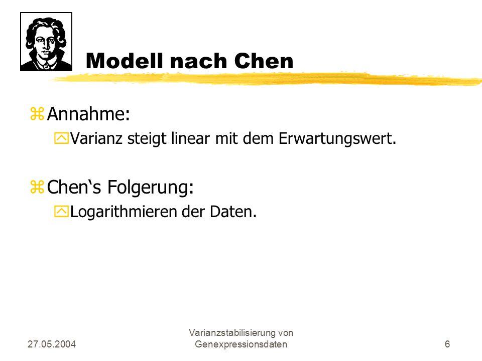 27.05.2004 Varianzstabilisierung von Genexpressionsdaten6 Modell nach Chen zAnnahme: yVarianz steigt linear mit dem Erwartungswert. zChen's Folgerung: