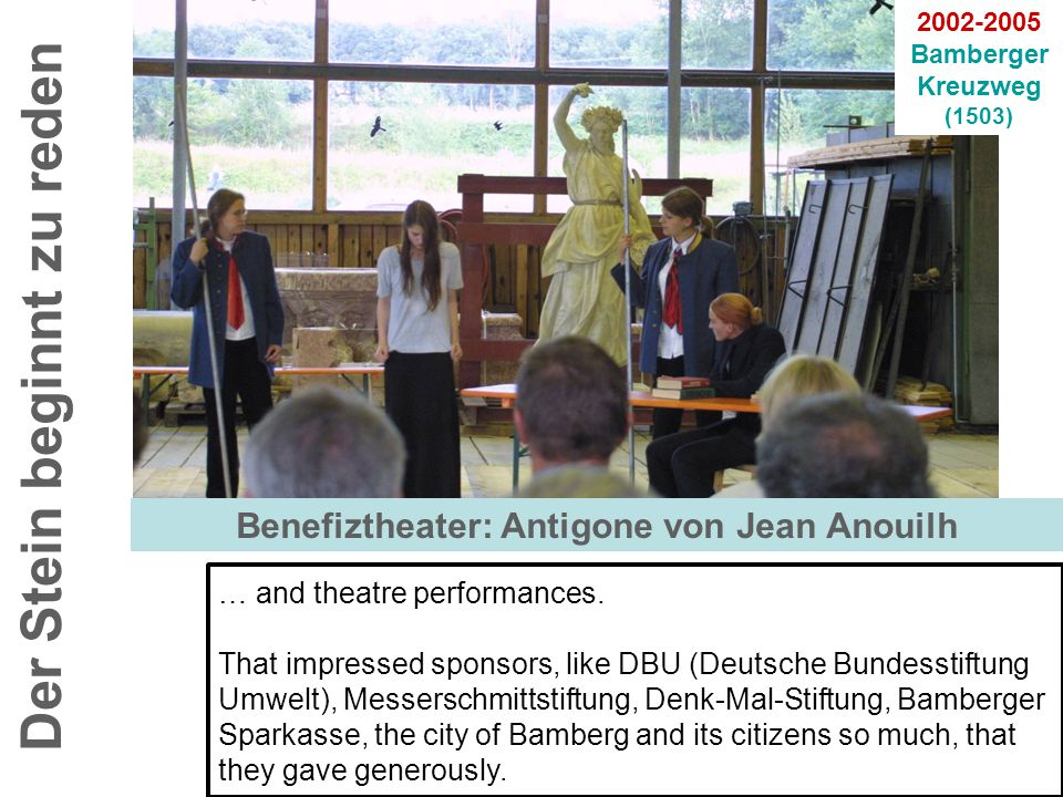 Der Stein beginnt zu reden 2002-2005 Bamberger Kreuzweg (1503) … and theatre performances.