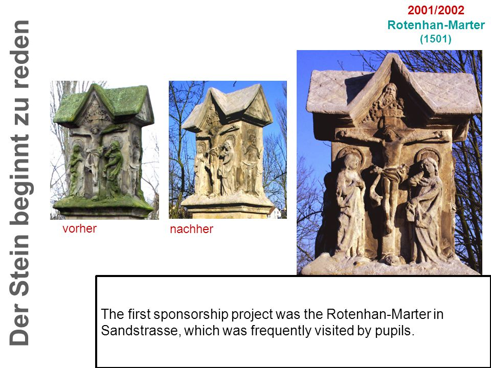 vorher nachher Der Stein beginnt zu reden 2001/2002 Rotenhan-Marter (1501) The first sponsorship project was the Rotenhan-Marter in Sandstrasse, which was frequently visited by pupils.