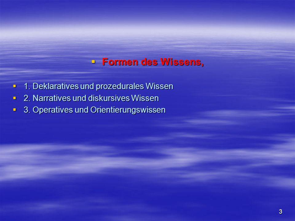 3  Formen des Wissens,  1. Deklaratives und prozedurales Wissen  2. Narratives und diskursives Wissen  3. Operatives und Orientierungswissen