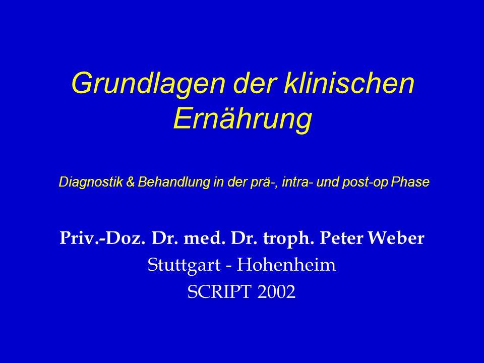 Grundlagen der klinischen Ernährung Diagnostik & Behandlung in der prä-, intra- und post-op Phase Priv.-Doz. Dr. med. Dr. troph. Peter Weber Stuttgart