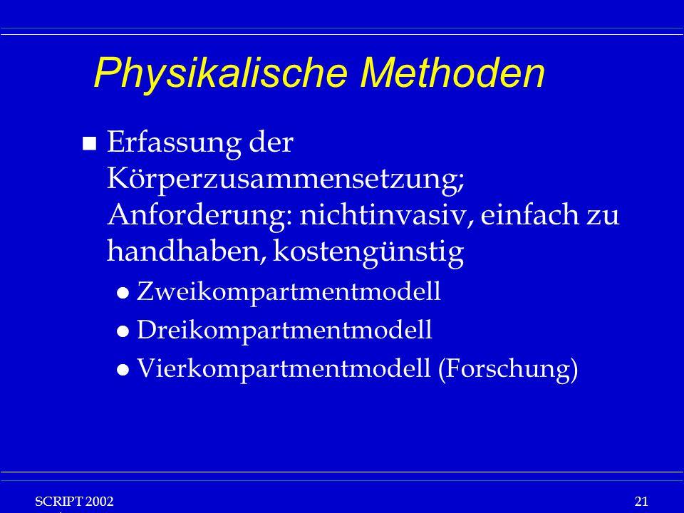 SCRIPT 2002 Vorlesung: Grundlagen Klinische Ernährung 21 Physikalische Methoden n Erfassung der Körperzusammensetzung; Anforderung: nichtinvasiv, einfach zu handhaben, kostengünstig l Zweikompartmentmodell l Dreikompartmentmodell l Vierkompartmentmodell (Forschung)