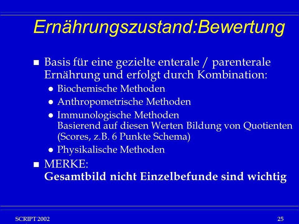 SCRIPT 2002 Vorlesung: Grundlagen Klinische Ernährung 25 Ernährungszustand:Bewertung n Basis für eine gezielte enterale / parenterale Ernährung und er