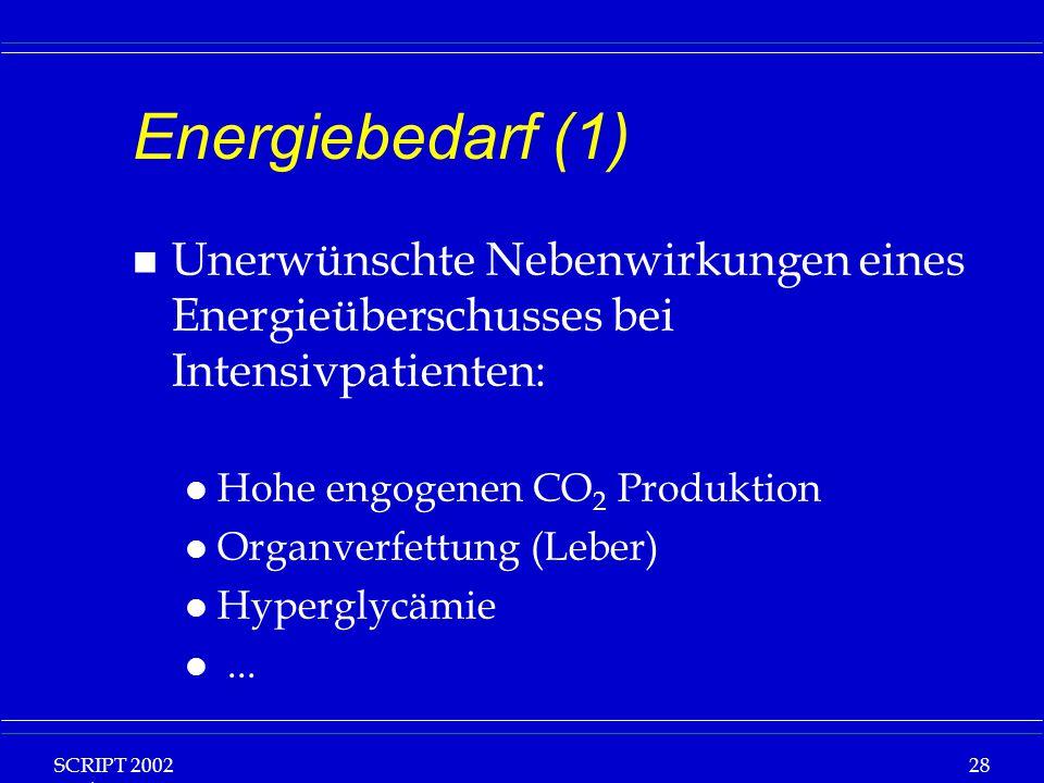 SCRIPT 2002 Vorlesung: Grundlagen Klinische Ernährung 28 Energiebedarf (1) n Unerwünschte Nebenwirkungen eines Energieüberschusses bei Intensivpatient