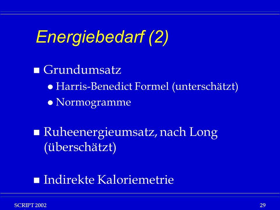 SCRIPT 2002 Vorlesung: Grundlagen Klinische Ernährung 29 Energiebedarf (2) n Grundumsatz l Harris-Benedict Formel (unterschätzt) l Normogramme n Ruheenergieumsatz, nach Long (überschätzt) n Indirekte Kaloriemetrie