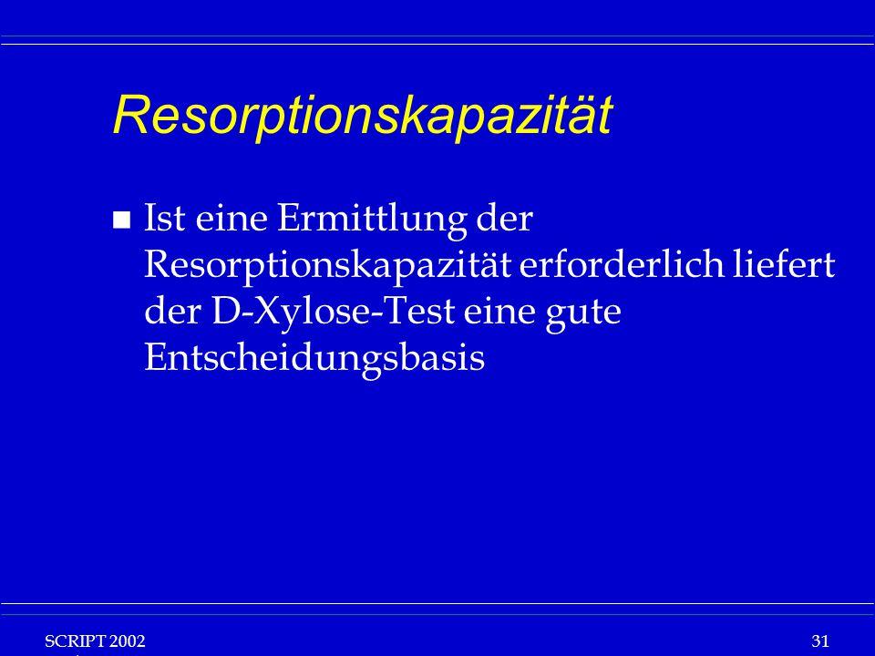 SCRIPT 2002 Vorlesung: Grundlagen Klinische Ernährung 31 Resorptionskapazität n Ist eine Ermittlung der Resorptionskapazität erforderlich liefert der D-Xylose-Test eine gute Entscheidungsbasis