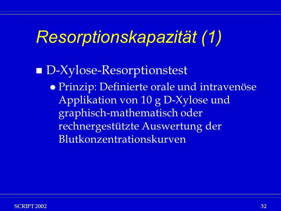 SCRIPT 2002 Vorlesung: Grundlagen Klinische Ernährung 32 Resorptionskapazität (1) n D-Xylose-Resorptionstest l Prinzip: Definierte orale und intravenö