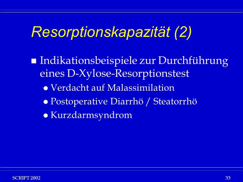 SCRIPT 2002 Vorlesung: Grundlagen Klinische Ernährung 33 Resorptionskapazität (2) n Indikationsbeispiele zur Durchführung eines D-Xylose-Resorptionste