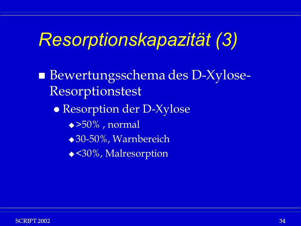 SCRIPT 2002 Vorlesung: Grundlagen Klinische Ernährung 34 Resorptionskapazität (3) n Bewertungsschema des D-Xylose- Resorptionstest l Resorption der D-Xylose u >50%, normal u 30-50%, Warnbereich u <30%, Malresorption