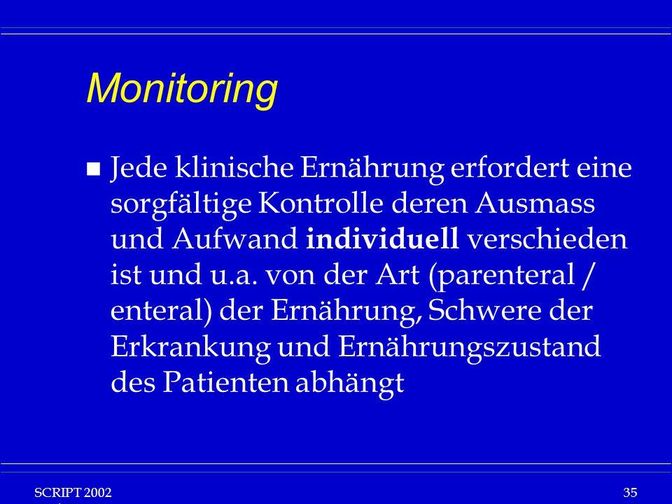 SCRIPT 2002 Vorlesung: Grundlagen Klinische Ernährung 35 Monitoring n Jede klinische Ernährung erfordert eine sorgfältige Kontrolle deren Ausmass und Aufwand individuell verschieden ist und u.a.