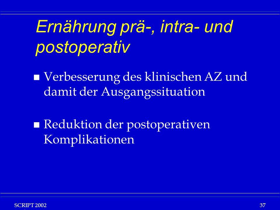 SCRIPT 2002 Vorlesung: Grundlagen Klinische Ernährung 37 Ernährung prä-, intra- und postoperativ n Verbesserung des klinischen AZ und damit der Ausgangssituation n Reduktion der postoperativen Komplikationen
