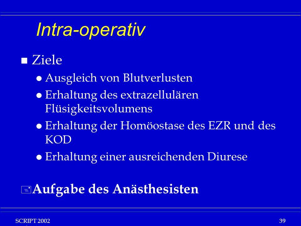 SCRIPT 2002 Vorlesung: Grundlagen Klinische Ernährung 39 Intra-operativ n Ziele l Ausgleich von Blutverlusten l Erhaltung des extrazellulären Flüsigke